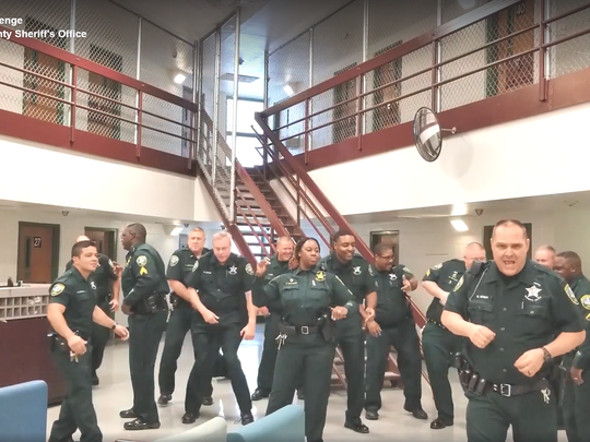 A screenshot from Leon County Sheriff's Office lip sync challenge video.