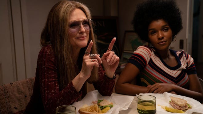 Julianne Moore (as Gloria Steinem) and Janelle Monáe (as Dorothy Pitman Hughes) in THE GLORIAS.