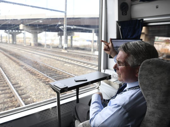 "Amtrak CEO Charles ""Wick"" Moorman rides in the rear car of Northeast Corridor Train #172 to New York Penn Station on Wednesday, April 19, 2017."
