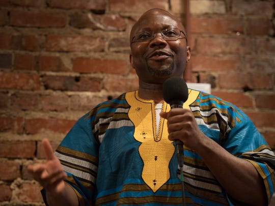 """Tennessean business writer Getahn Ward shares his story at the """"I am an American"""" storytelling event Wednesday, June 21, 2017, in Nashville."""