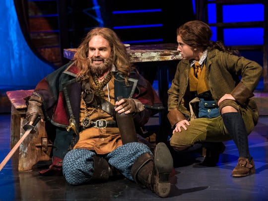 "Geoffrey Kent plays Billy Bones and Sceri Sioux Ivers plays Jim Hawkins in the Utah Shakespeare Festival's 2017 production of ""Treasure Island."""