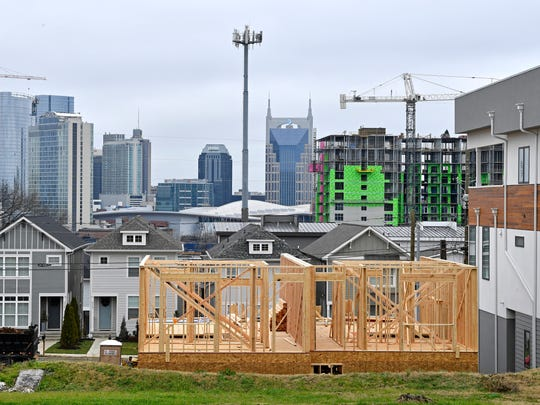 A view of the Nashville skyline from Archer Street,