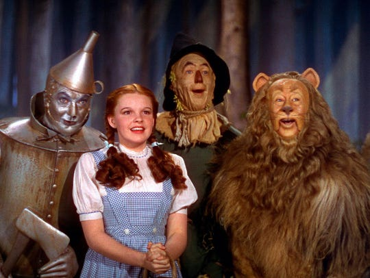 "Jack Haley, left, Judy Garland, Ray Bolger and Bert Lahr in a scene from the 1939 motion picture ""The Wizard of Oz."" The film will be shown Saturday as part of the Saenger Classis Movie Series."