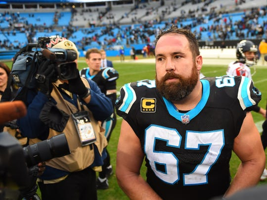 Dec 23, 2018; Charlotte, NC, USA; Carolina Panthers center Ryan Kalil (67) on the field after the game at Bank of America Stadium. Mandatory Credit: Bob Donnan-USA TODAY Sports