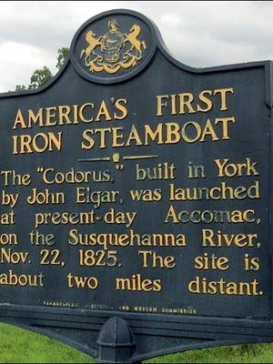 America's First Iron Steamboat Marker (Located a short distance west of Wrightsville on the south side of Route 462, opposite Blessing Lane; 2015 Photo by S. H. Smith)