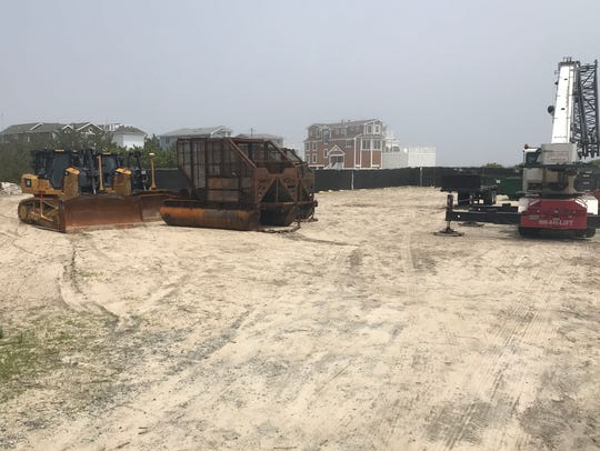 Beach replenishment equipment awaits upcoming use on
