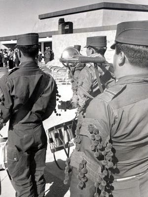 18 NOV 1973 - CHAMIZAL DEDICATION - Mexican troops from the 1st Battalion in Juarez heralding the opening of dedication ceremonies of the Chamizal National Memorial Saturday located a few yards from the Mexican border. Undersecretary of the Interior John C. Whitaker substituted for Secretary Rogers C. B. Morton who cancelled his visit because of Illness. (Times Staff Photo)
