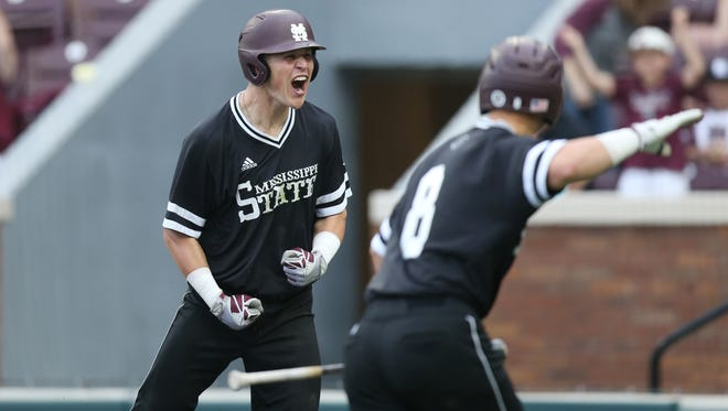 Mississippi State outfielder Elijah MacNamee reacts after driving in a run.