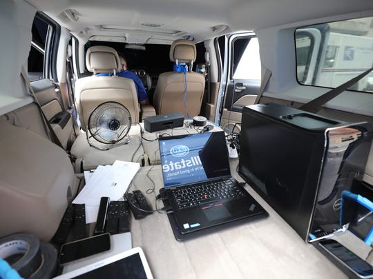 Computer components and sensors fill the back of the Allstate distracted-driving simulator that made a stop in Yonkers on Sept. 16.
