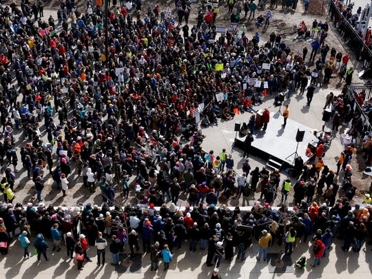 The crowd listens to U.S. Sen. Debbie Stabenow speak