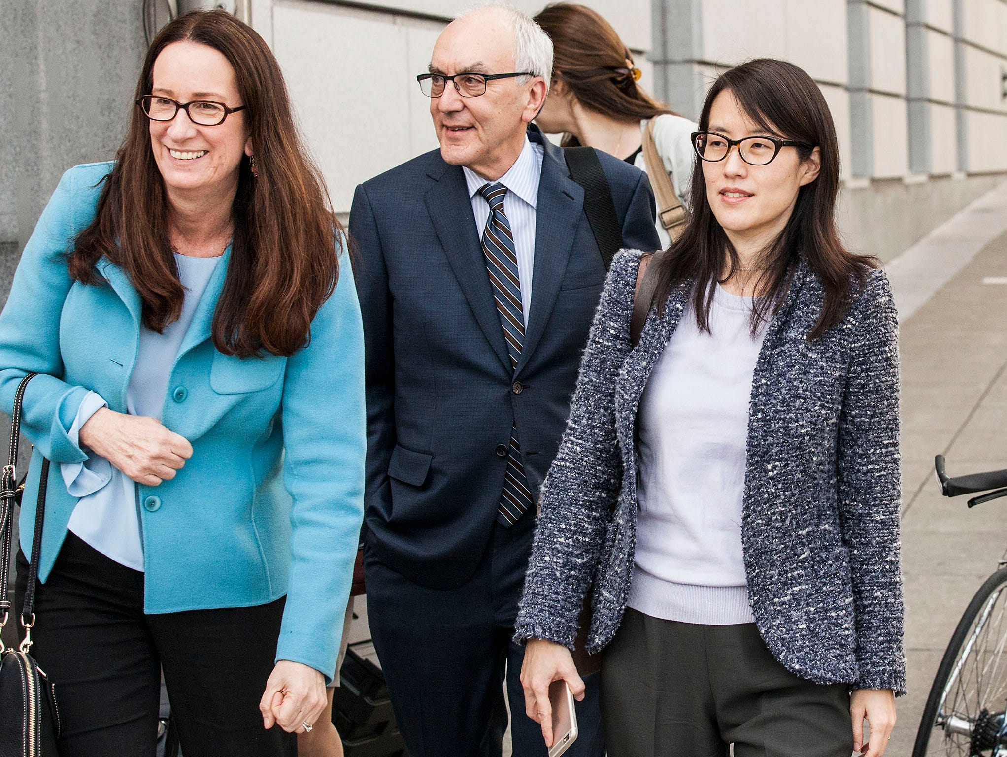 Ellen Pao, far right, a former venture capitalist at Kleiner Perkins Caufield and Byers, leaves the San Francisco Superior  Courthouse in San Francisco, CA with her attorneys Therese Lawless, left, and Alan Exelrod, center. Pao is seeking $16 million
