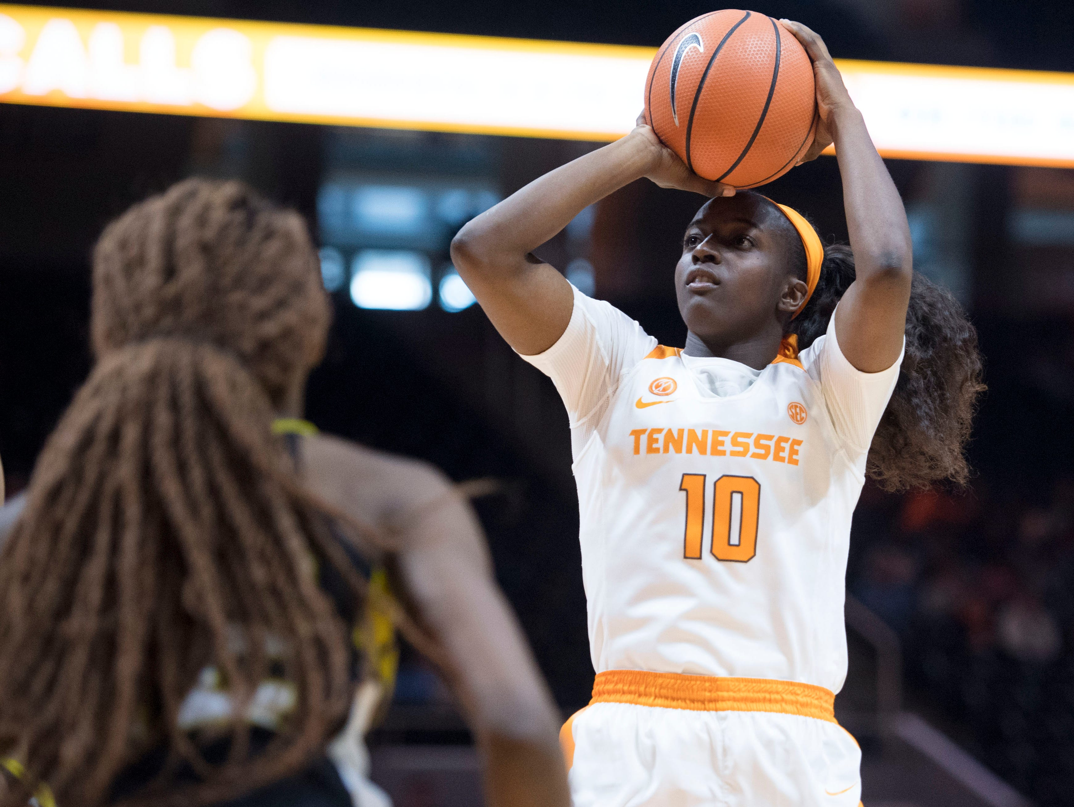 Tennessee's Meme Jackson puts up a shot against Alabama State's at Thompson-Boling Arena on Sunday, December 3, 2017.