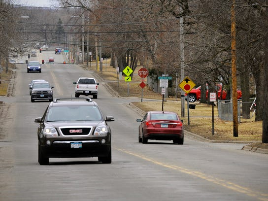 Traffic on Wednesday moves along Second Street toward