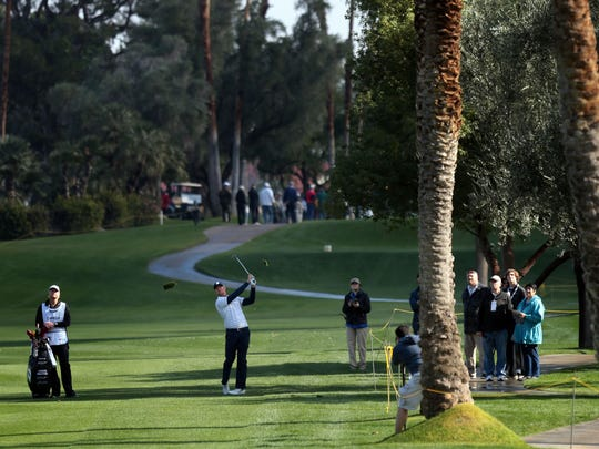 Hudson Swafford hits his approach on 9 at the La Quinta Country Club during the 1st round of the CareerBuilder Challenge on Thursday, January 19, 2017.