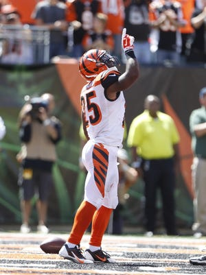 Cincinnati Bengals running back Giovani Bernard (25) celebrates his touchdown against the Atlanta Falcon during the second quarter of their game played at Paul Brown Stadium.