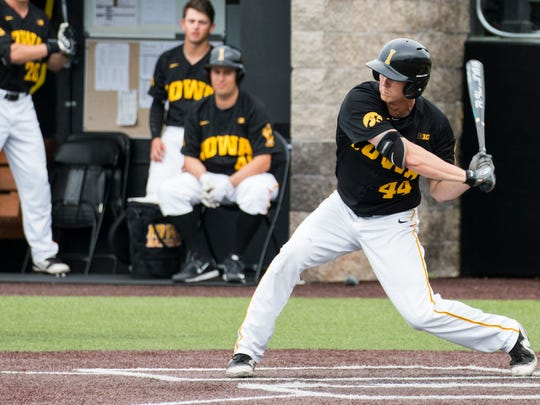 Iowa outfielder Robert Neustrom bats during a baseball game at Duane Banks Field in Iowa City between Iowa and Penn State on Friday, May 18, 2018.