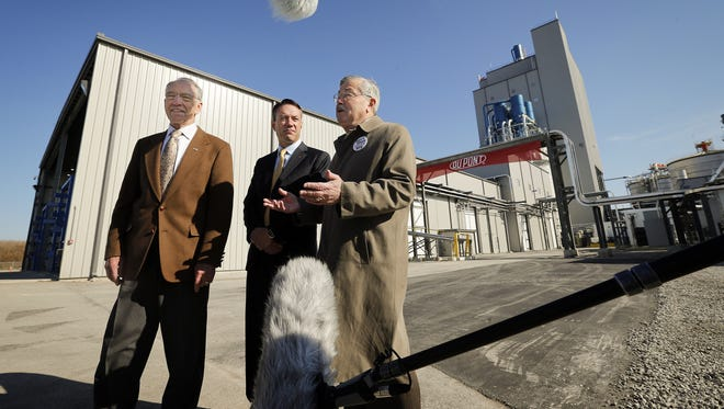 Sen. Charles Grassley, R-Iowa, stands with William Feehery of DuPont Biofuels and Iowa Gov. Terry Branstad at the  opening Oct. 30, 2015, of DuPont's new cellulosic ethanol facility in Nevada, Iowa.