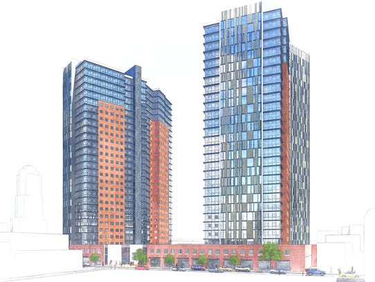 A rendering of the proposed mixed-use, dual 28-story
