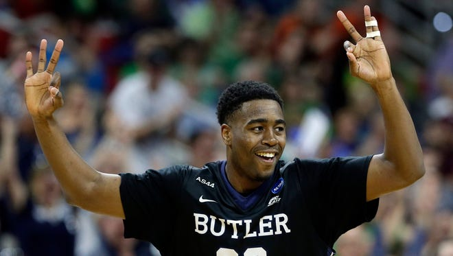 Butler forward Kelan Martin (30) celebrates his three-point shot against Texas Tech during the second half of a first-round men's college basketball game in the NCAA Tournament, Thursday, March 17, 2016, in Raleigh, N.C.