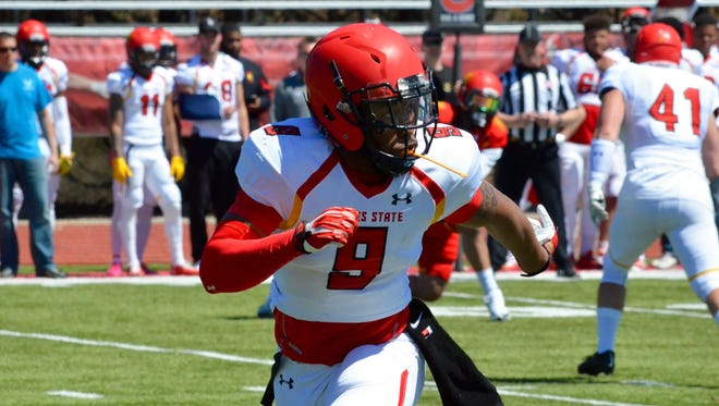 Ferris State safety DeShaun Thrower chases down a play during the spring game at Top Taggart Field in Big Rapids on April 22, 2017.