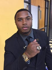 Grambling running back Martez Carter poses with his