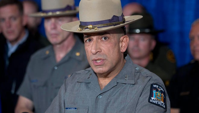 New York State Police Superintendent Joseph D'Amico speaks during a news conference following the capture of fugitive David Sweat on Sunday, June 28, 2015, in Malone, N.Y.