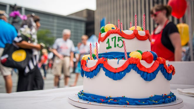 The Enquirer celebrated its 175th birthday Wednesday on Fountain Square.