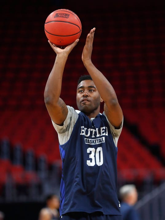 Butler's Kelan Martin shoots during practice for an NCAA college basketball tournament first-round game in Detroit, Thursday, March 15, 2018. Butler plays Arkansas on Friday. (AP Photo/Paul Sancya)