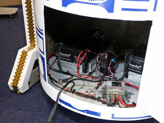 The electronic insides of the Sheboygan Central created R2D2 grill at Lakeshore Technical College Friday March 10, 2017 in Cleveland.