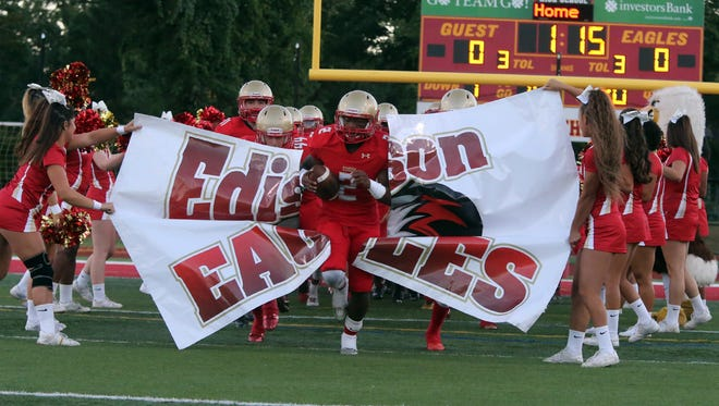 The Eagles of Edison High School take on the Bombers from Sayreville War Memorial High School in a varsity football at Edison on Friday September 16, 2016