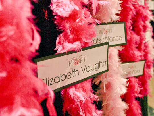 Feather boas may be purchased in honor of a breast cancer survivor (bright pink) or in memory of someone who lost their battle (light pink) that will be prominently displayed at the Pink Gala in Franklin on New Year's Eve.