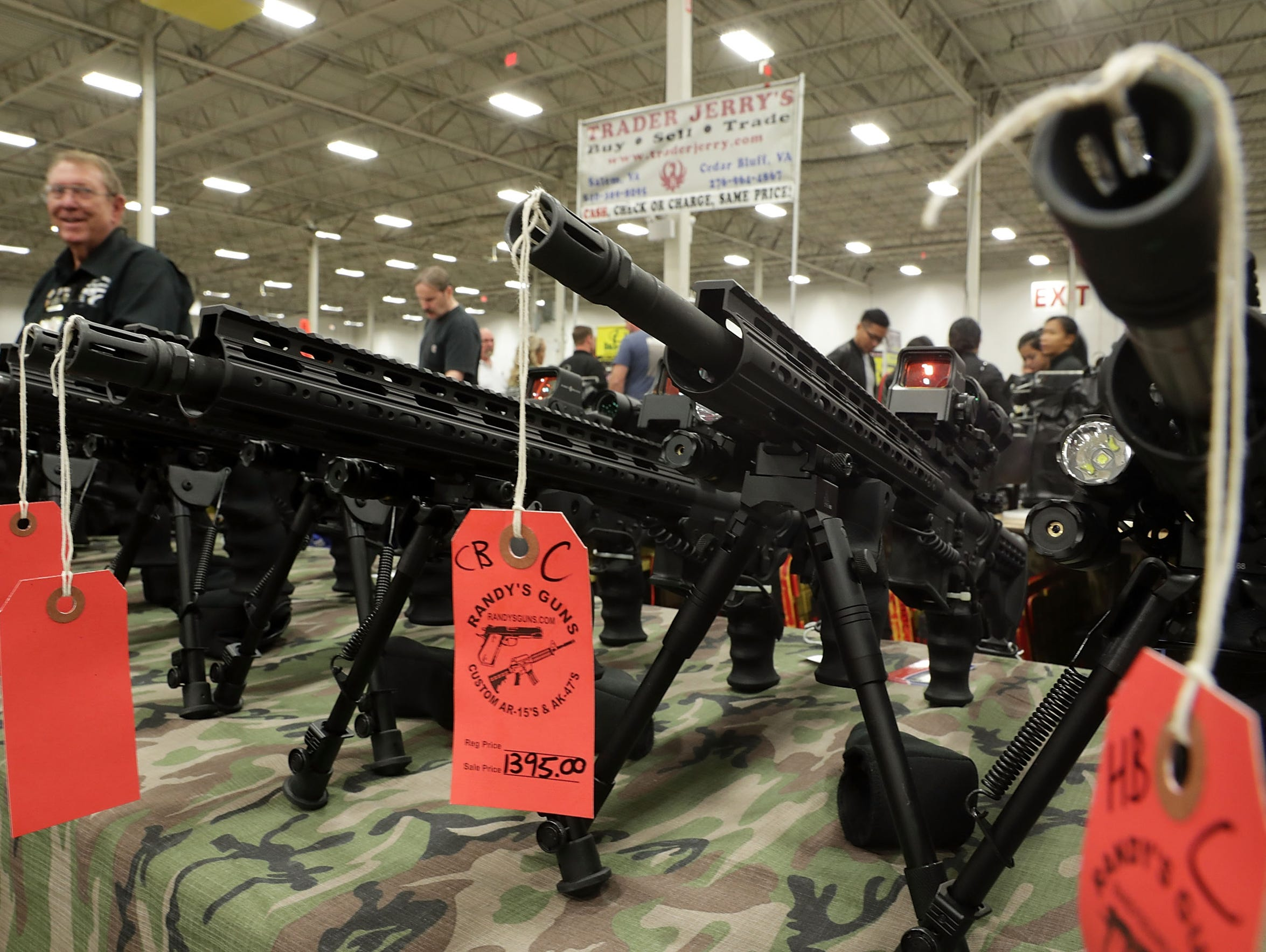 AR-15 rifles are on display during the Nation's Gun