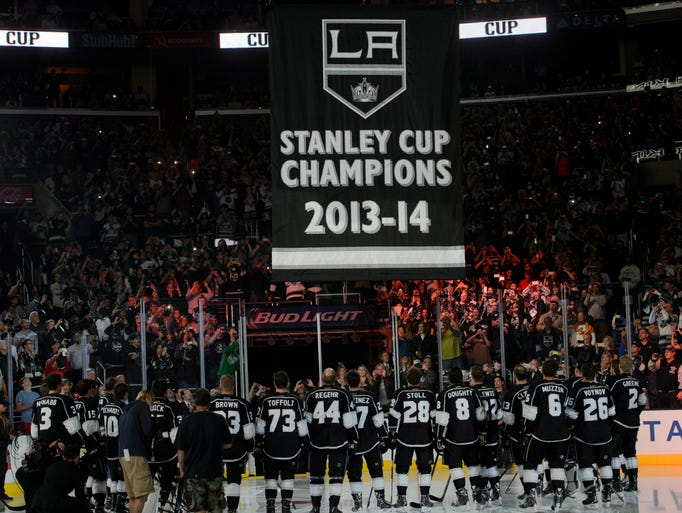 The Los Angeles Kings raised a Stanley Cup banner on