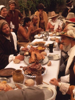 A depiction of the first Thanksgiving.