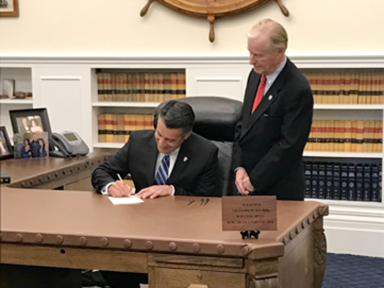 Gov. Brian Sandoval signs Senate Bill 201, which banned mental health professionals from conducting sexual conversion therapy on minors under the age of 18. Sandoval signed the bill on May 17, 2017.