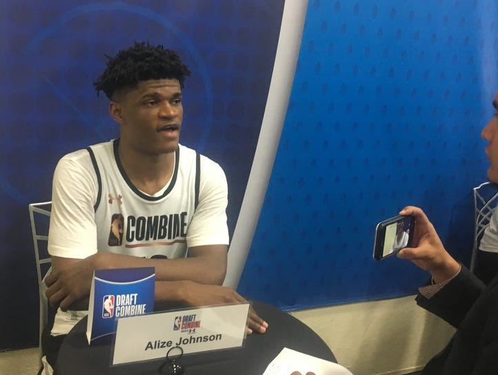 Alize Johnson talks to a reporter Thursday at the NBA