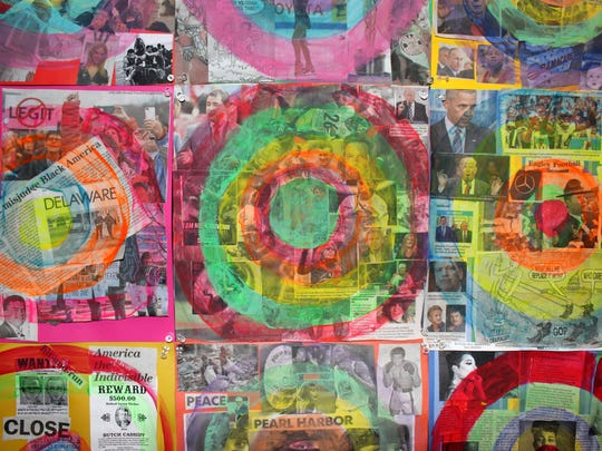 St. Elizabeth's art students made target collages like this to stimulate discussion on social issues.