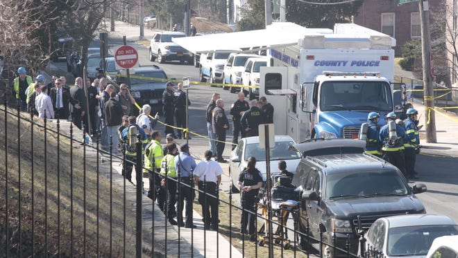 """Multiple agencies are on the scene at 270 N. Broadway in Yonkers as a """"suspicious device"""" is investigated, Wednesday, March 9, 2016."""