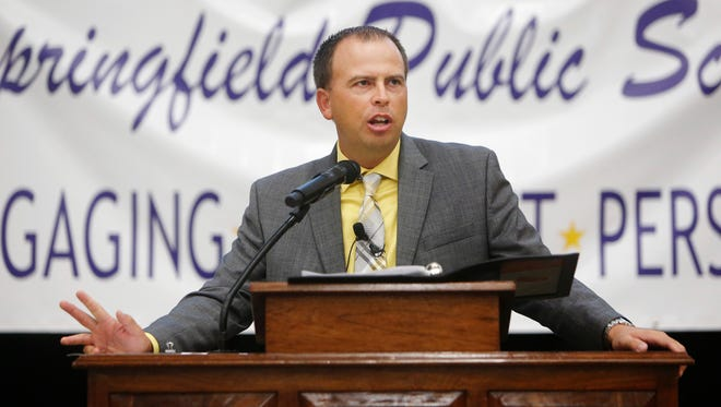 Superintendent John Jungmann delivers the state of Springfield Public Schools address at Kickapoo High School on Thursday, August 4, 2016.