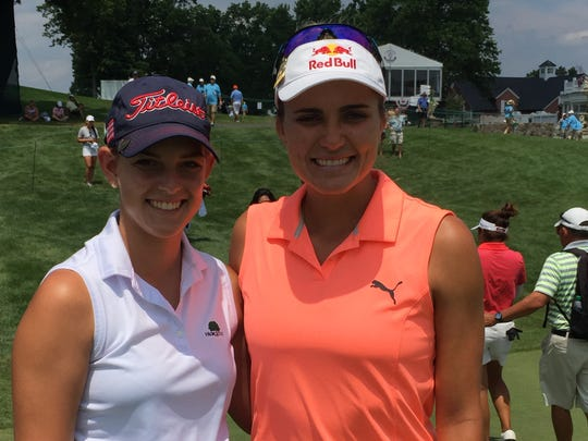 Naples' Emma Bradley and LPGA Tour star Lexi Thompson during a practice round for the U.S. Women's Open on Monday, July 10, 2017 at Trump National Golf Club in Bedminster, N.J.