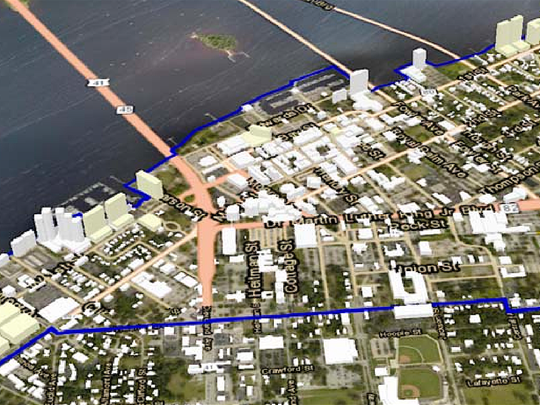 A boundary map shows the midtown planning area encompassing downtown Fort Myers south and the City of Palms Park neighborhood. The redevelopment is the biggest growth step in the city's history, and will be voted on Monday, April 17.