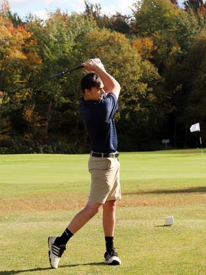Quabbin junior Ben Lanier tees off on the first hole at Westminster Country Club, Wednesday, in a match against Oakmont.
