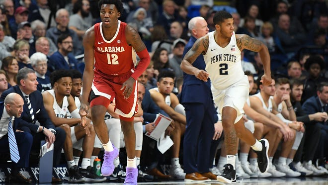 Dec 14, 2019; University Park, PA, USA; Alabama Crimson Tide guard Jaylen Forbes (12) gestures after a three-point basket against the Penn State Nittany Lions during the first half at the Bryce Jordan Center. Mandatory Credit: Rich Barnes-USA TODAY Sports
