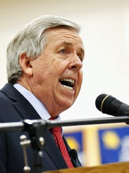 Mike Parson speaks at a campaign event in Bolivar in