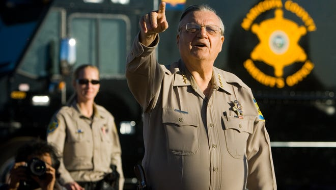 Sheriff Joe Arpaio  confronts protesters after a press conference near Buckeye to announce a planned crime sweep in the West Valley on Jan. 9, 2009.