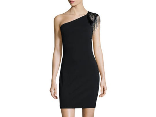 Halston Heritage cocktail dress is direct from Neiman