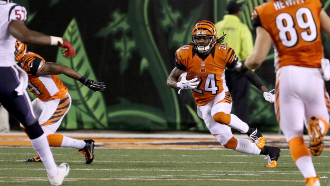 Cincinnati Bengals cornerback Adam Jones runs during a kick return.