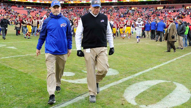 Bills head coach Rex Ryan walks off the field after the game against the Washington Redskins on Sunday.