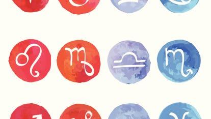 Watercolor Zodiac set.