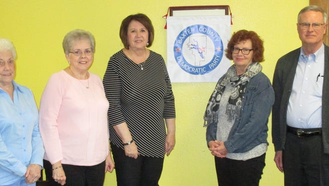 The Baxter County Democratic Club officers for 2018 were installed at the January meeting. New officers are: (from left)Wana Thacker, Treasurer; Glenda Bodenhamer, Secretary; Cynthia Martin, 2nd Vice Chairman; Cheryl Munson-Beall, 1st Vice Chairman; and John Barnes, Chairman. The club meets the fourth Saturday of each month at 9 a.m. at the Cookhouse Restaurant.